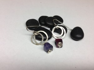 Ruby Sapphire earrings. Sterling silver hoops and hooks. $50