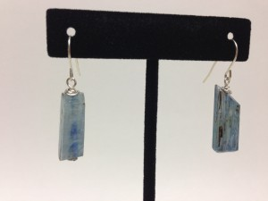 Rough cut blue kyanite stones on sterling silver hooks. $25
