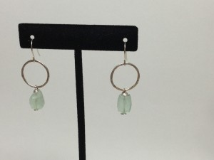Green fluorite with hammered silver rings. Sterling silver. $25